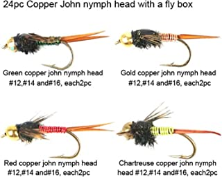 Riverruns Best Assortment 12 Most Effective Copper John Nymph Head Collection Total 24 Flies with A Mini Fly Box, Adults Fly Fishing Trout Nymph Fly Fishing Flies