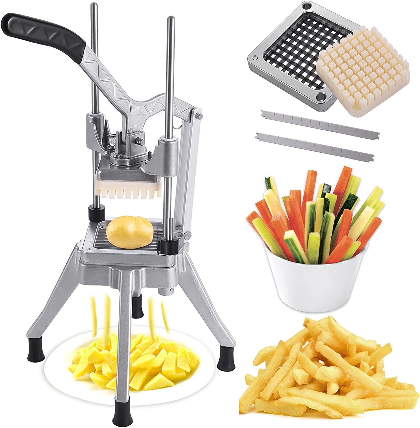 Commercial Vegetable Chopper 1/4″ Blade ,Vegetable Dicer Fry Cutter 1/4 Onion Tomato Slicer Professional Manual Food Chopper For Potato Fruit Stainless Steel Home Kitchen