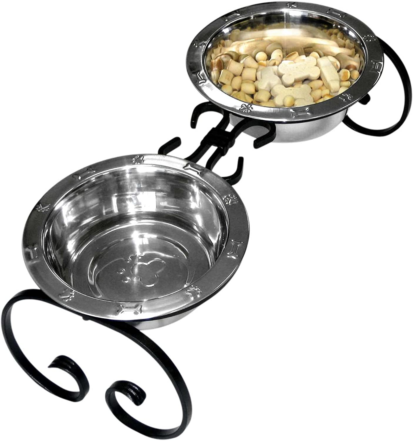 QT Dog Wrought Iron Diner with Stainless Steel, 7Inch, 2Quart, Black
