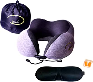 CJDEnterprise Premium Memory Foam Travel Pillow, Airplane, Car, Train, Road Trips. Earplugs & Eye Maks for Sleeping. Adjustable, Comfortable, Breathable Washable Cloth. 360-Degree Head & Neck Support. Gray