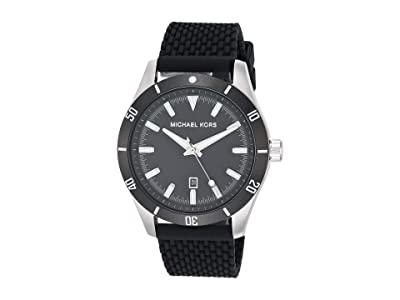 Michael Kors Layton Three-Hand Silicone Watch (Black) Watches
