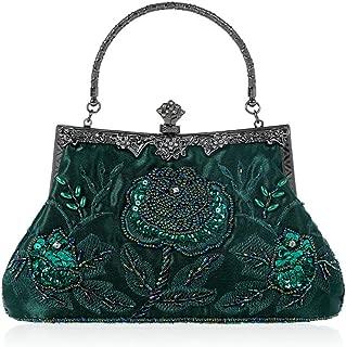 Vintage Style Beaded Floral Evening Clutch Bag Wedding Party Prom Purse Handbag