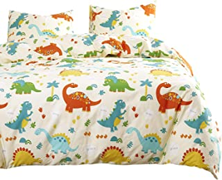 Wake In Cloud - Dinosaur Duvet Cover Set, 100% Cotton Bedding, Kids Modern Pattern Printed on Cream, with Zipper Closure (3pcs, Queen Size)