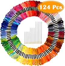 Paxcoo 124 Skeins Embroidery Floss Cross Stitch Thread with Needles