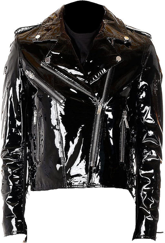 Womens PVC Leather Jacket Shiny Stylish Cafe Racer Style Motorcycle Biker Leather Jacket