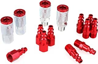 WYNNsky Color Air Compressor Accessories Fittings, 4 Pieces Air Coupler with 10 Pieces Air Plugs,1/4''NPT, I/M Type-Red, 14 Pieces Air Hose Fittings