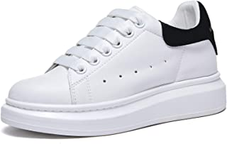 Women's Fashion Sneakers Leather Lace up Platform White Sneakers for Women Walking Shoes
