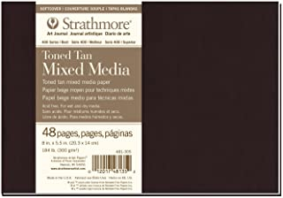 """Strathmore 481-305 Softcover Mixed Media Art Journal, 8""""x5.5"""", Toned Tan, 48 Pages"""