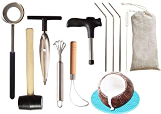 Coconut Opener| Coconut Opener Kit with Hammer Stainless Steel Opening Utensil Premium Wooden Handle| Coconut spoon| Drinking Straws| Straw Cleaner| Opener Tool Set with a Carry Bag (11pcs)