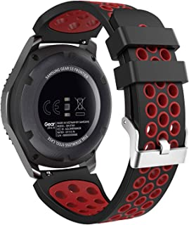 MoKo Band Compatible with Samsung Gear S3/Gear S3 Frontier/Classic/Galaxy Watch 46mm/Ticwatch E2/S2/pro/Huawei Watch GT 46mm, 22mm Perforated Silicone Strap, Black & Red