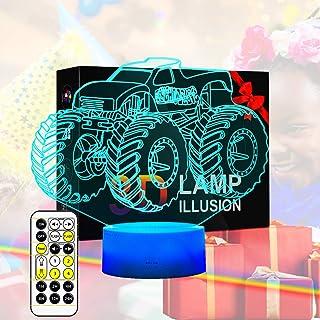 Monster Truck 3D Night Light, Bedside Lamp for Kids Room,...