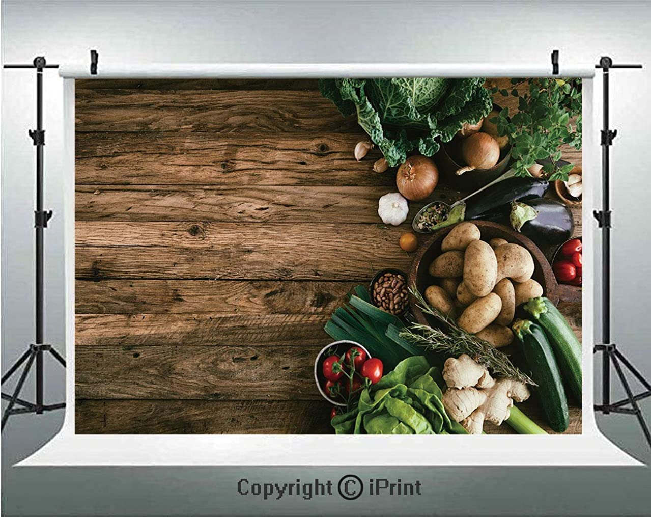 Harvest Photography Backdrops Various Vegetables on Rustic Wooden Table Onions Potatoes Zucchini Cherry Tomatoes Decorative,Birthday Party Background Customized Microfiber Photo Studio Props,10x6.5ft,