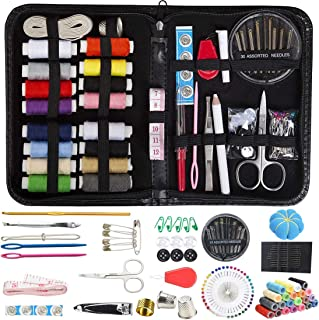 Sewing Kit, DIY Premium Sewing Supplies Set with Scissors, Thimble, Thread, Needles, Tape Measure, Carrying Case and Accessory for Beginners, Kids, Summer Campers, Travel and Home (149 PCS (Black)