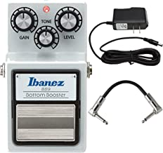 Ibanez BB9 9 Series Bottom Boost Distortion Pedal With ACE PP9V Pig Power 9V AC 1000mA Power Supply And Strukture S6P48 R-Angle Patch Cable