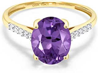 10K Yellow Gold Purple Amethyst and White Diamond Women's Engagement Ring (2.32 Ct Oval Available in size 5, 6, 7, 8, 9)