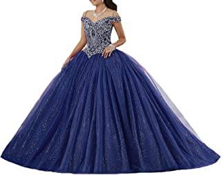 Women's Puffy Crystal Quinceanera Dresses Ball Gown Sweet 16 Dresses