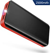 Batería Externa Power Bank 25000mAh Cargador Portátil con Ultra Alta Capacidad, Puertos Dobles y Linterna LED de 4 Modos para iPhone X 8 7 6 Puls, iPad, Samsung Galaxy, Androide y Otros Dispositivos