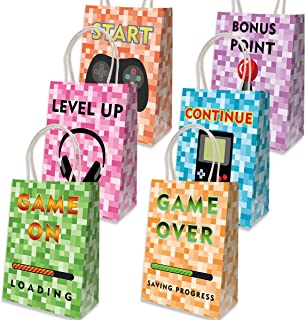 12 Pixel Treat Bags Favor Gift Goody Paper Bag for Video Game Halloween Themed Birthday Party Baby Shower