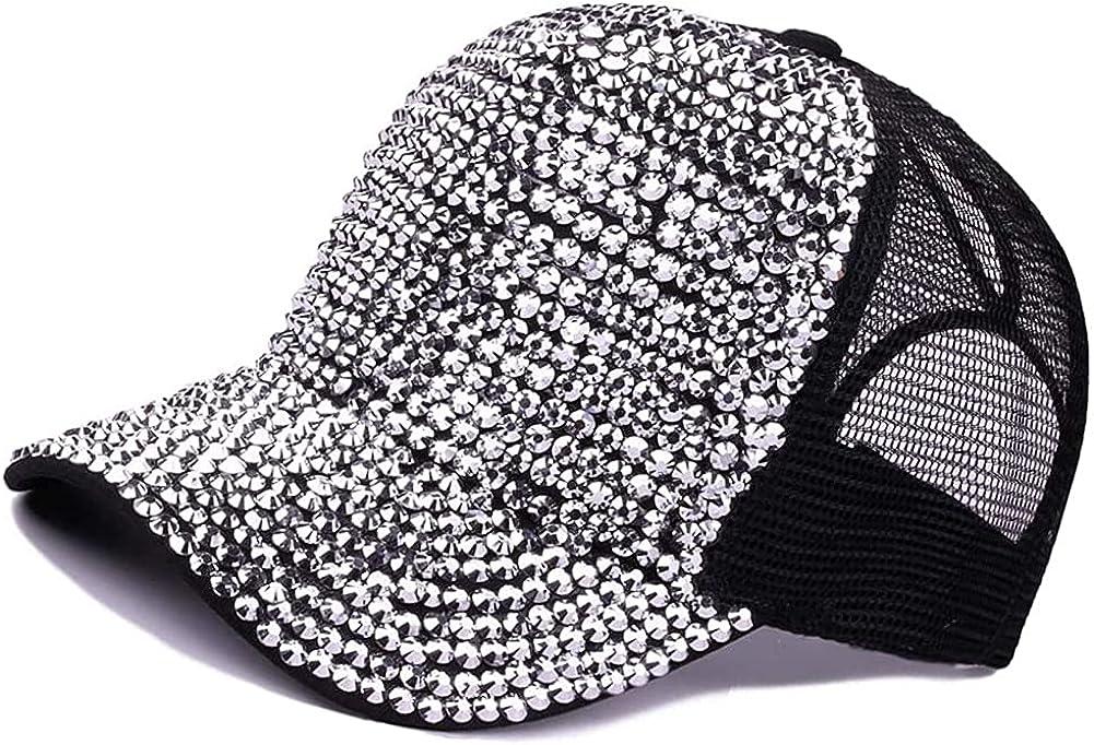 NICEPUSS Women Rhinestone Baseball Cap Crystals Cap Sparkle Bling Cap Denim Sun Hat Adjustable