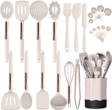 Silicone Cooking Utensil Set, Fungun Kitchen Utensils Set with Stainless Steel Handle 24 Pcs Kitchen Gadgets Cookware Set,...