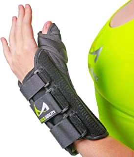 BraceAbility Thumb & Wrist Spica Splint | De Quervain`s Tenosynovitis Long Stabilizer Brace for Tendonitis, Arthritis & Sprains Forearm Support Cast (XS - Right Hand)