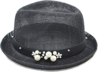 Collocation-Online Spring and Summer British Wind Jazz hat Sunshade Straw hat Pearl Curling Small hat
