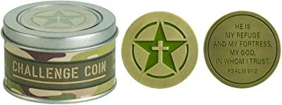 Dicksons Challenge Military Camouflage Green 1.5 x 1.5 Metal Pocket Coin