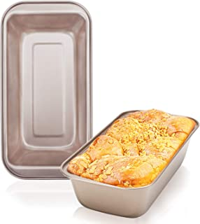 Loaf Pan Set of 2, Beasea 9 x 5 Inch Bread Baking Pans Nonstick Bakeware Golden Loaf Baking Pans, Carbon Steel Bread Loaf Pans