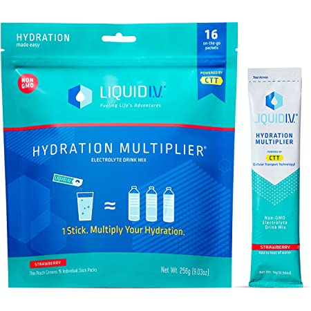 Liquid I.V. Hydration Multiplier - Strawberry - Hydration Powder Packets   Electrolyte Supplement Drink Mix   Low Sugar   Easy Open Single-Serving Stick   Non-GMO (Strawberry/16 Count) …