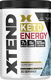 Scivation Xtend Keto Energy Bcaa Powder Ultra Frost | 125mg Caffeine + Sugar Free Bhb Exogenous Ketones Supplement with Bhb Salts & Electrolytes | 7g bcaas for Men & Women | 20 Servings