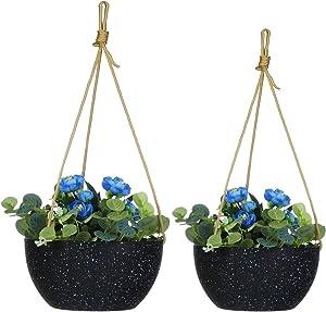 EBBCOWRY 2 Pack Hanging Planters, 9''/10'' Plastic Plant Pots Flower Pots Modern Decorative Garden Plant Nursery Pots for Flowers Herbs Succulents Orchid Cactus (Stone Black)