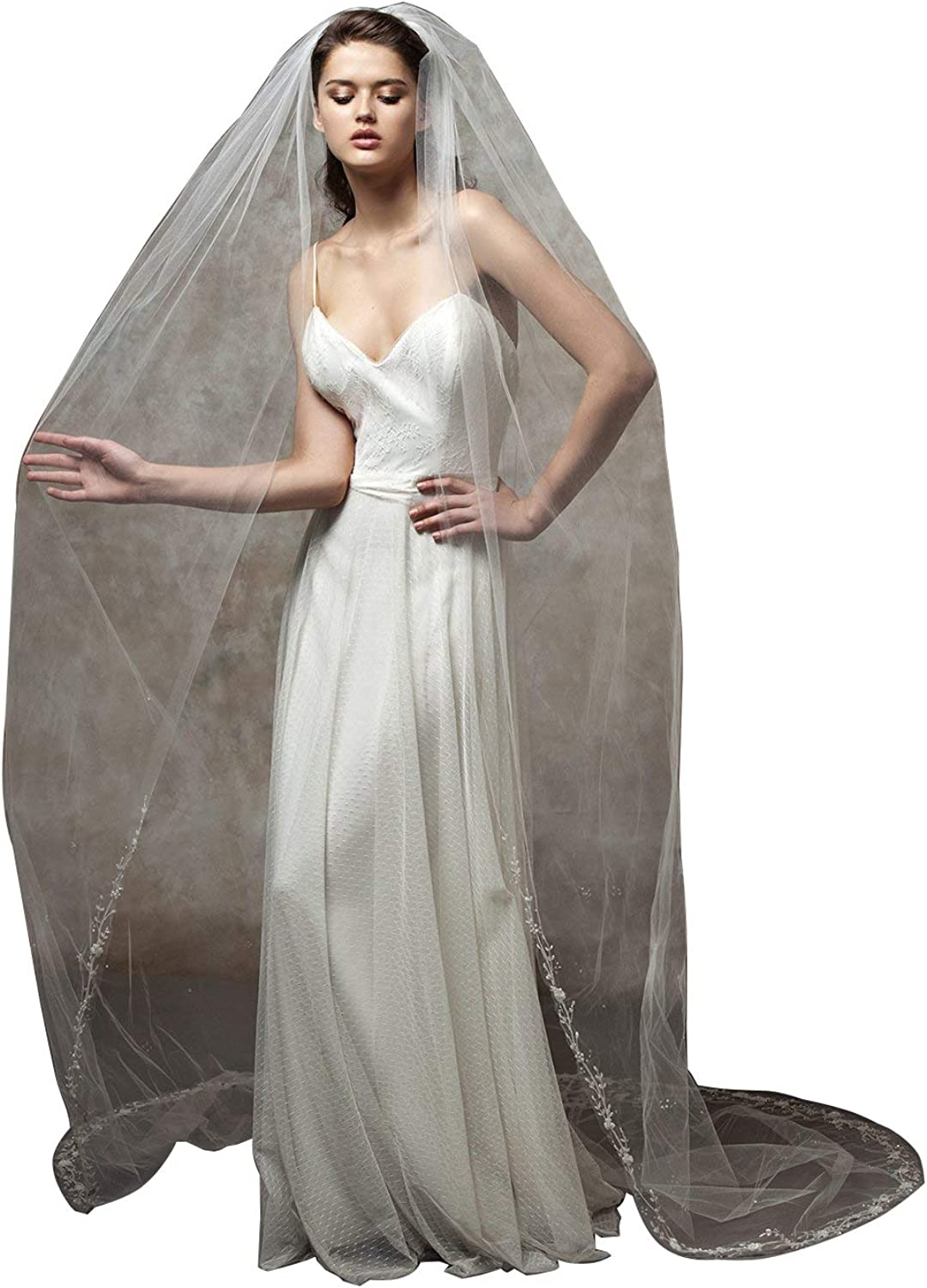 Fenghuavip 1T Simple 3M 4M Wedding Veil for Brides Beaded Appliques with Comb