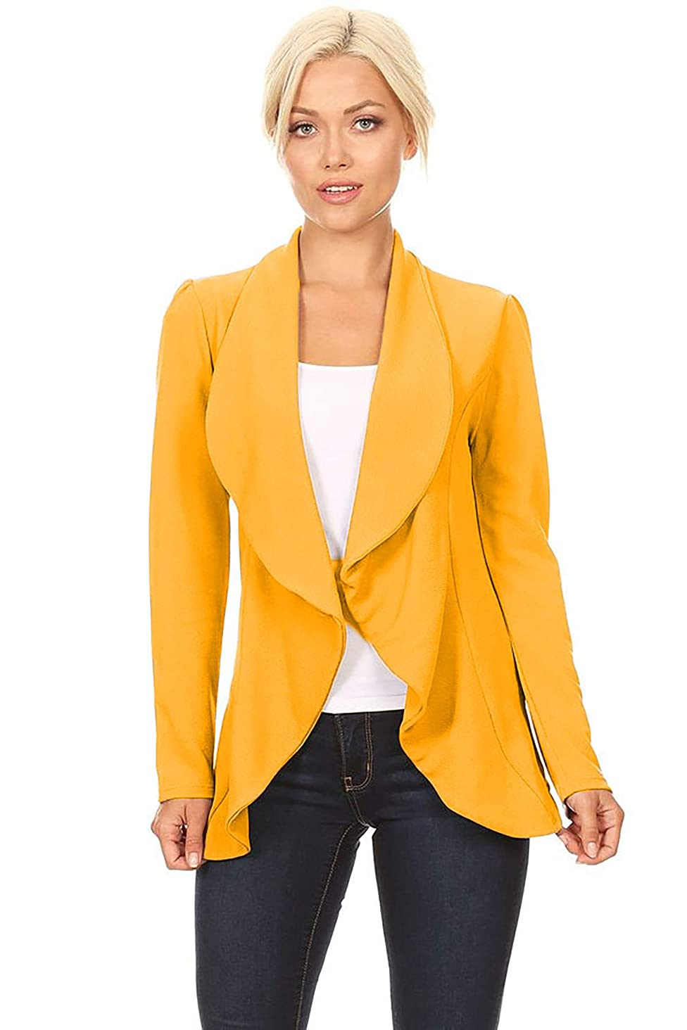 Women's Solid Print Casual Long Sleeves Stretch Open Front Blazer Jacket/Made in USA