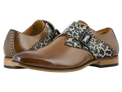 Stacy Adams Sutcliff Plain Toe Monk Strap (Cognac/Leopard) Men