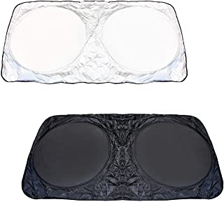 iJDMTOY (2 Medium 60 x 27.5 Car Windshield Sunshade, Foldable, Block UV Ray Deflector Sun Shade Protection