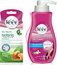 Veet (Gel Wax Strips Kit) Gel Hair Removal Cream, Legs & Body 13.52 oz & Botanic Inspirations Wax Strip Kit Bikini, Underarm, Face 20 Ct, 1 ea
