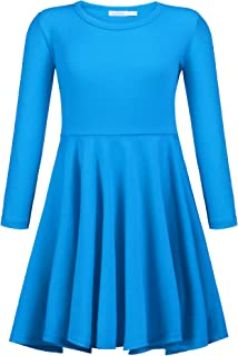 Arshiner Girls Short Sleeve Dress A line Twirly Skater Casual Dress 2-12 Years