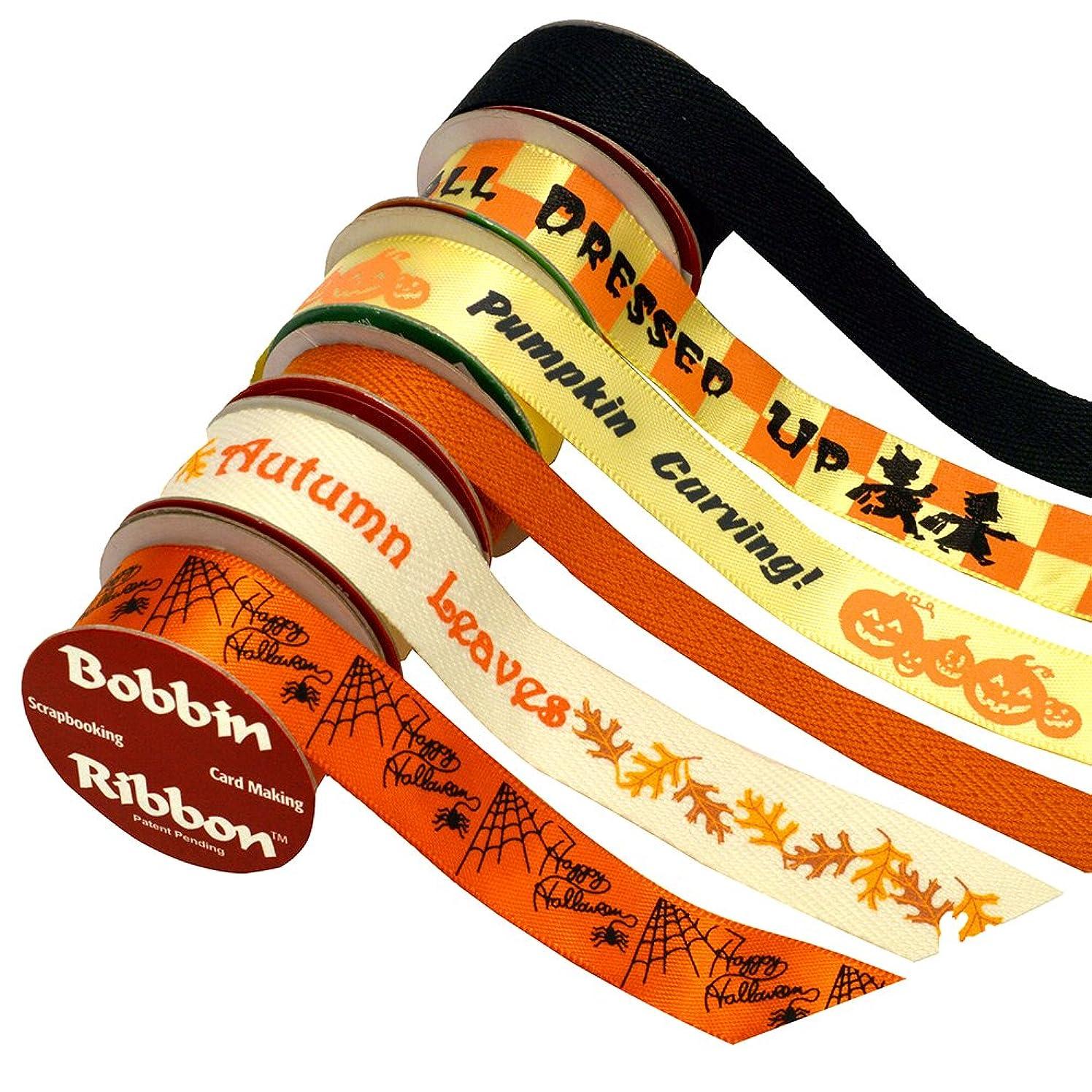 Morex Bobbin Ribbon for Scrapbooking, Halloween, 6-Pack