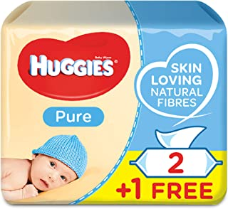 HUGGIES BABY WIPES PURE,  2+1 Free ,  56s x 3 Pack (168 Wipes)