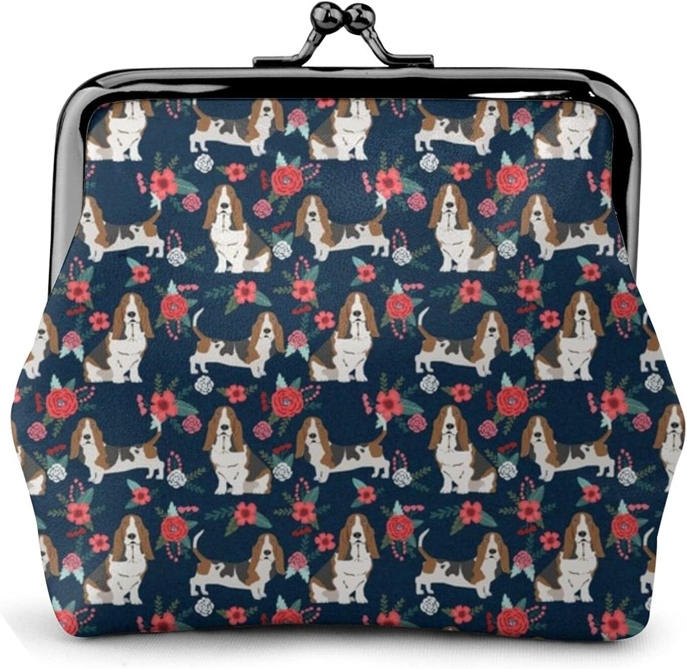 Basset Hound Floral 262 Coin Purse Retro Money Pouch with Kiss-lock Buckle Small Wallet for Women and Girls