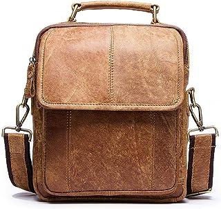 Leather Men's Bag Retro Leather Men's Vertical Single-Shoulder Crossbody Bag European and American Men's Bag (Color : Khaki, Size : S)