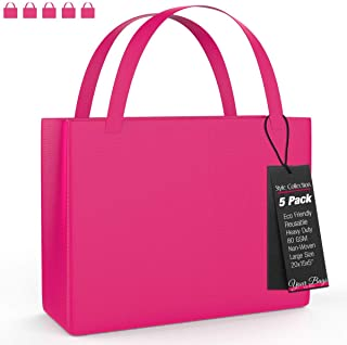 Reusable Stylish Tote Bags, 5 Pack - Large Fuchsia Carrying Bag for Shoes, Groceries, Accessories – Lightweight for Travel - 20