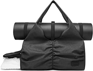 Travel Yoga Gym Bag for Women, Carrying Workout Gear, Makeup, and Accessories, Shoe Compartment and Wet Dry Storage Pockets, Large Sizes, Black