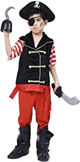 Boys Pirate Costume Set, Skull Crossbones Striped Caribbean Buccaneer Outfit, Captain Jack Pretend Play Suit