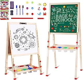 amzdeal Tableau Enfant Double Face Chevalet de Peinture Enfants pour de 3 à 8 Ans, 3en1 Tableau Magnétique, Hauteur Réglab...
