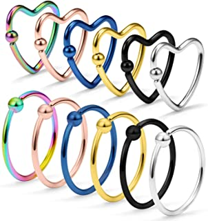 Ocptiy 12Pcs Helix Cartilage Earring Tragus Daith Lip Hoop Piercing Jewelry Surgical Steel Captive Bead Rings/Heart/Star Nose Ring 20 Gauge