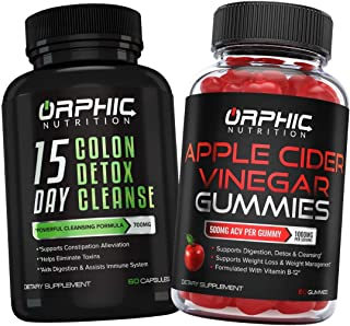 Colon Cleanser Detox & Apple Cider Vinegar Gummies - Constipation Relief, Intestinal Cleansing & Detoxification - Formulat...