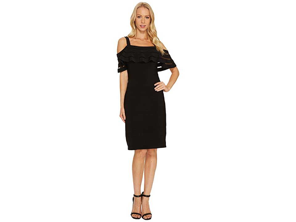 Adrianna Papell Banded Off Shoulder Sheath Dress (Black Multi) Women
