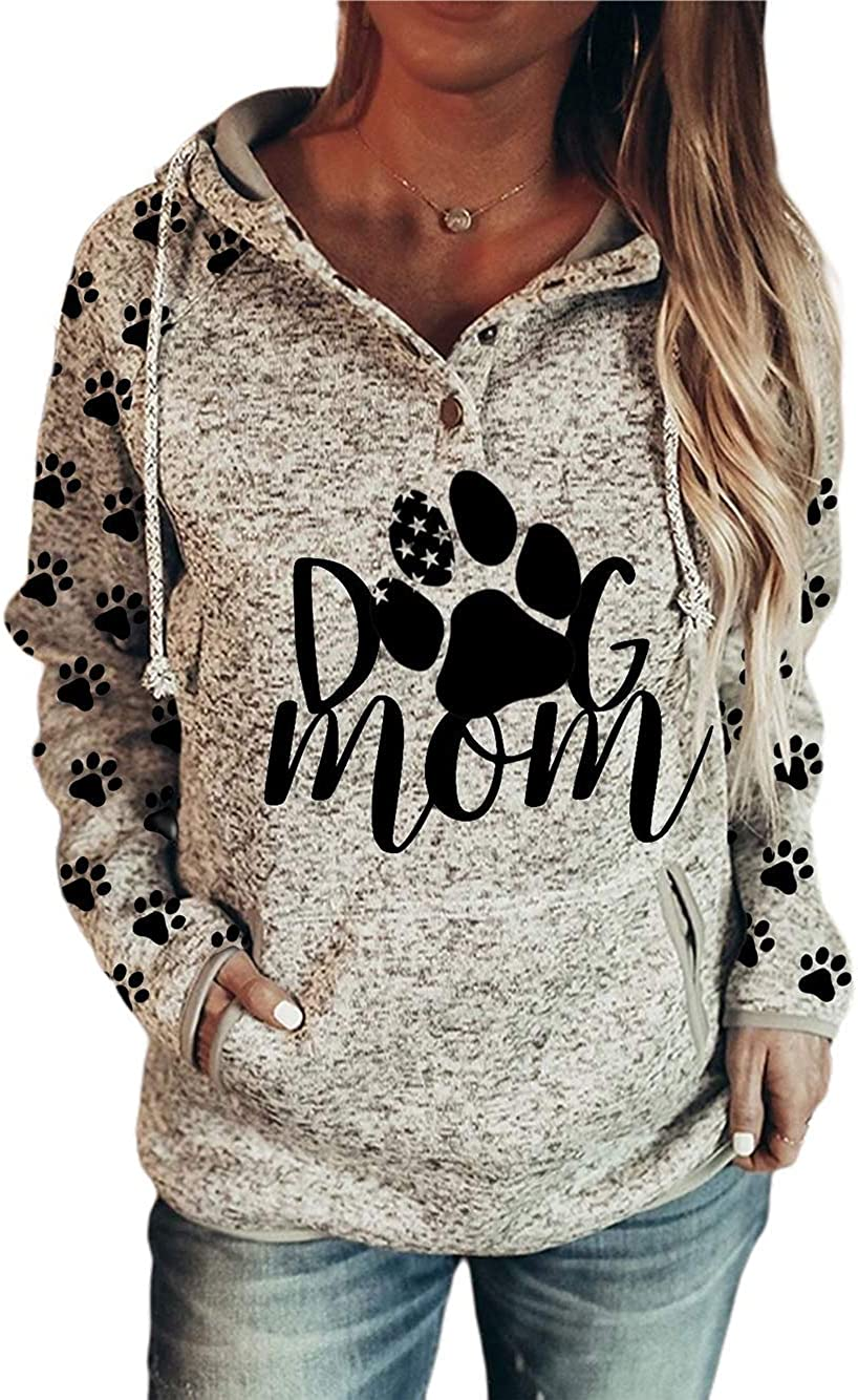 Women's Mama Bear Print Hoodie, Long Sleeve Lightweight Sweatshi