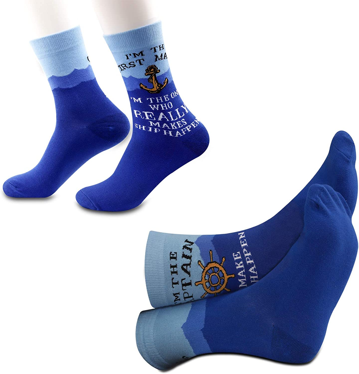 2PAIRS Captain and First Mate Novelty Socks Set Matching Boating Socks Boat Sailor Couples Gift